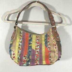 Fossil patchwork colorful shoulder bag purse